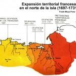 Detalle expansión francesa norte isla SD entre 1697 y 1731