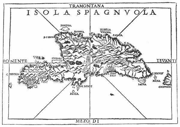 Mapa de la Isla Hispaniola del siglo XV