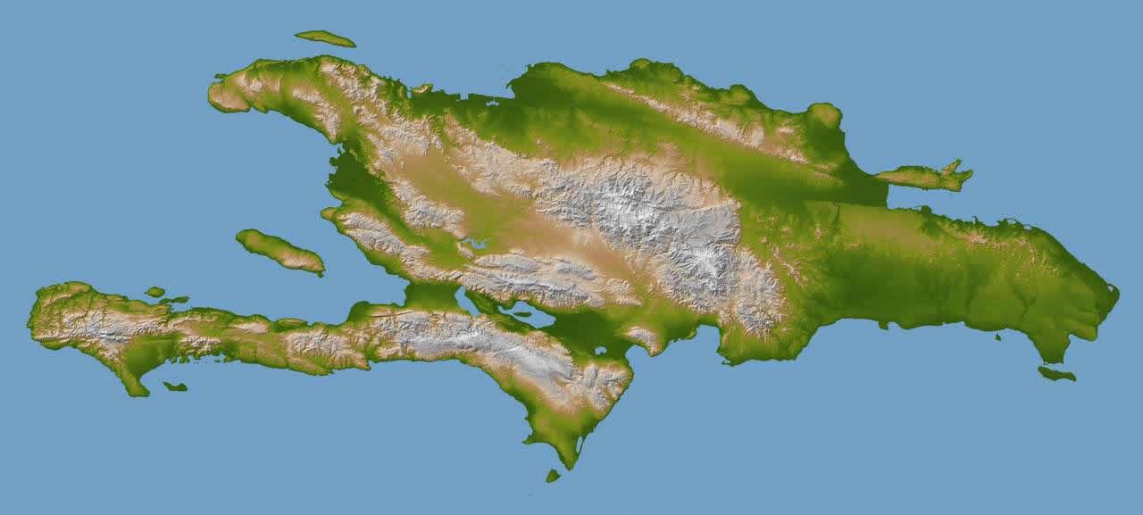 Mapa en relieve de la Isla Santo Domingo