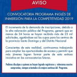 Ingles de Inmersion 2019 Cupos Agotados